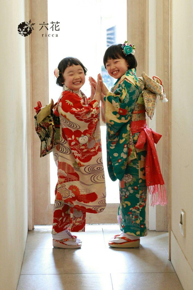 七五三 姉妹揃って着物で撮影 着物レンタル・着付け・ヘアメイク・撮影