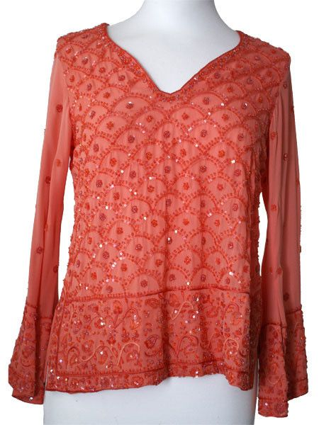 Orange Silk Kurti Top