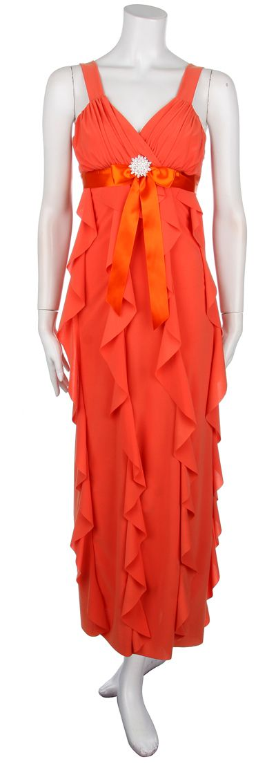 Long Orange Dress Semi Formal Mini Ruffles Tank Straps Casual Dress $88.99