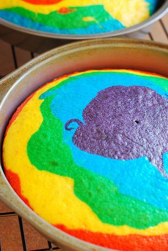 Rainbow color cake