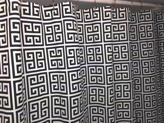 Towers greek key fabric shower curtain cotton by kirtamdesigns