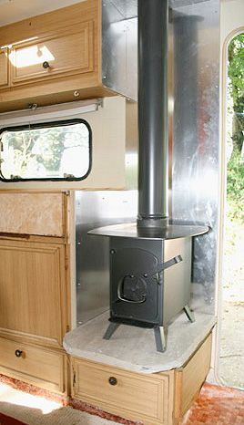 Small wood stove in camper. Would probably work better than the furnace we have