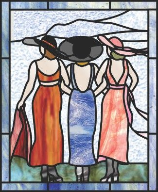 Stained glass 3 women / sisters - best friends