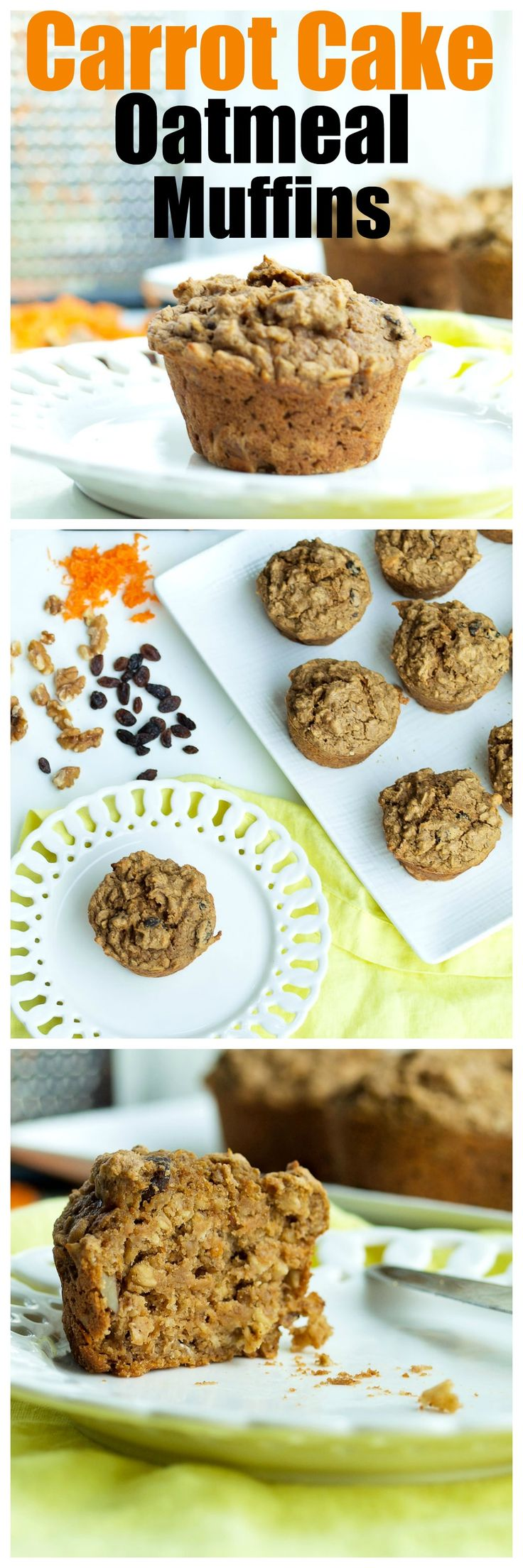 This healthy Carrot Cake Oatmeal Muffins recipe is hearty, filling, and also vegan and gluten-free! A great back-to-school breakfast recipe.