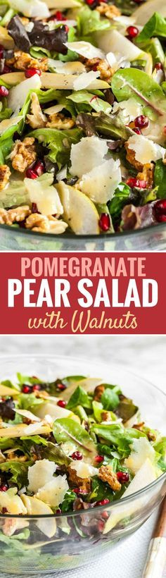 Pomegranate Pear Salad with Walnuts is loaded with flavors and would be a delicious addition to your Holiday dinner table! A vibrant salad full of different textures that is easy to whip up and makes every dinner special. #autumnsalad #salad #thanksgivingrecipes #pearsalad