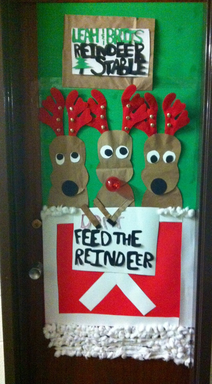 Leah and brittany's reindeer stable! My door creativity for Tyndale's door decorating  contest! So much fun to do! @brittanyharvey @leahbess