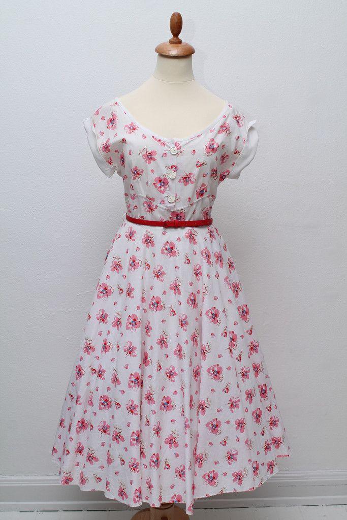 Blomstret sommerkjole by Vintage tøj | Vintage Divine - Online webshop og butik