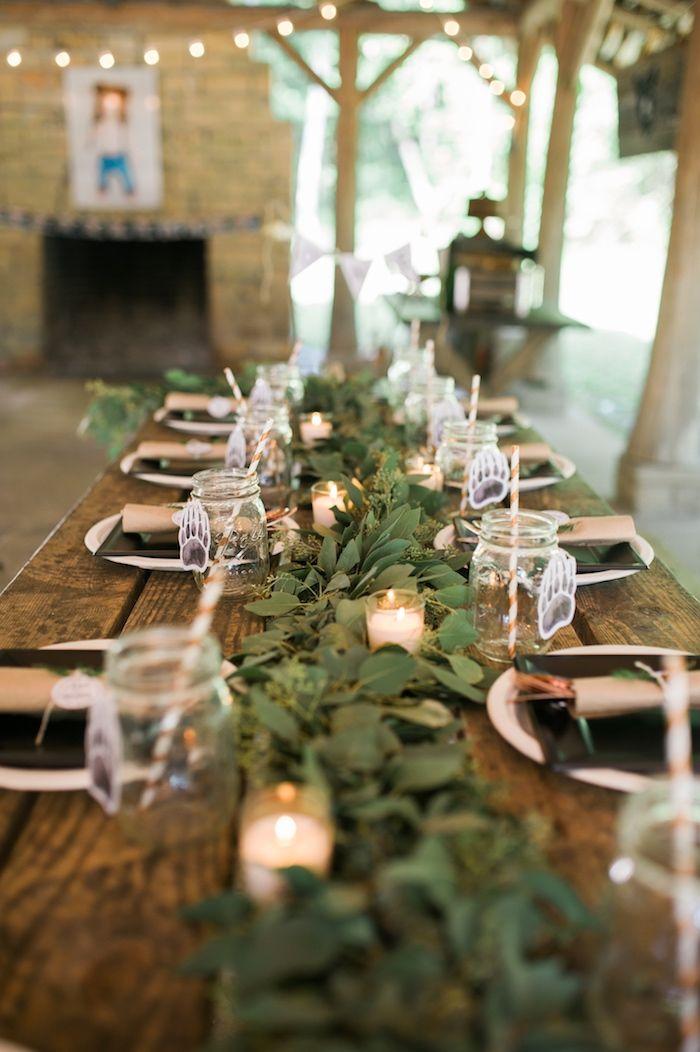 Dining table spread from a Grizzly Bear Man Cub 1st Birthday Party on Kara's Party Ideas | KarasPartyIdeas.com (23)