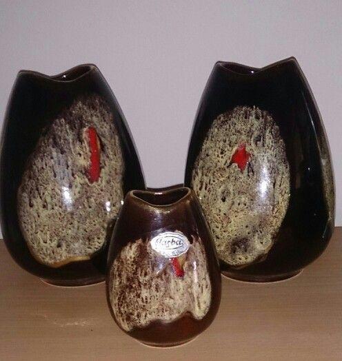 Set of 3 Jasba 1960's German Ceramic Vase
