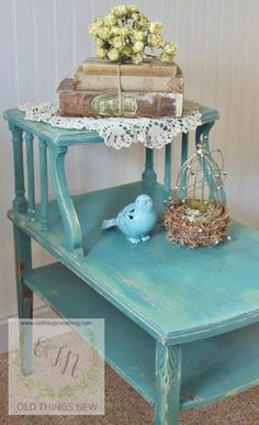 Layered Colors for a Vintage Side Table - Old Things New I have Mama's that she made.. I am so redoing them