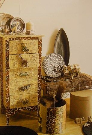 Revamped home furniture and home decor using Decopatch paper (decoupage) animal print style.