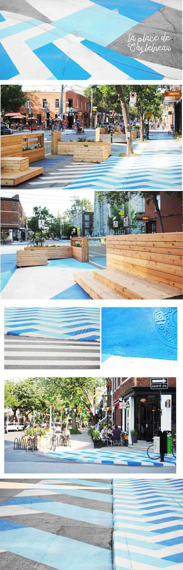 Place de Castelnau - Villeray - Montréal  Espace public - Mobilier Urbain - Placottoir - Design Urbain - Trottoirs - Peinture au sol