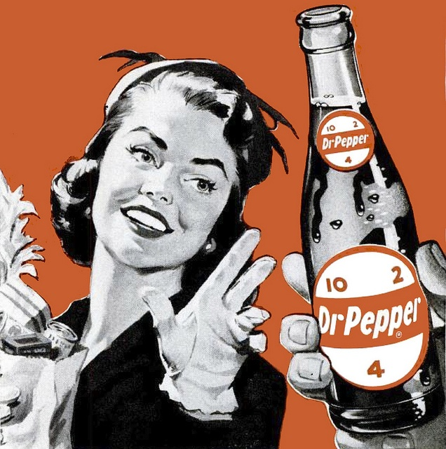"""I can just see the copy on this 1950s ad reading something like """"when thirst strikes, reach for a cold, Dr Pepper"""