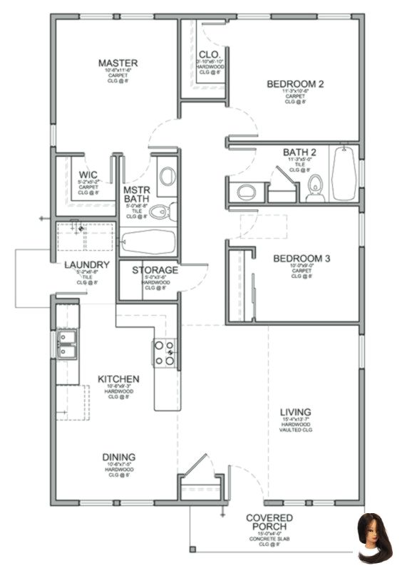 Baths Bedrooms Floor House House Design Plans 3 Bedrooms Plan Sf Small Floor Plan For Bungalow Floor Plans Bedroom House Plans Three Bedroom House Plan