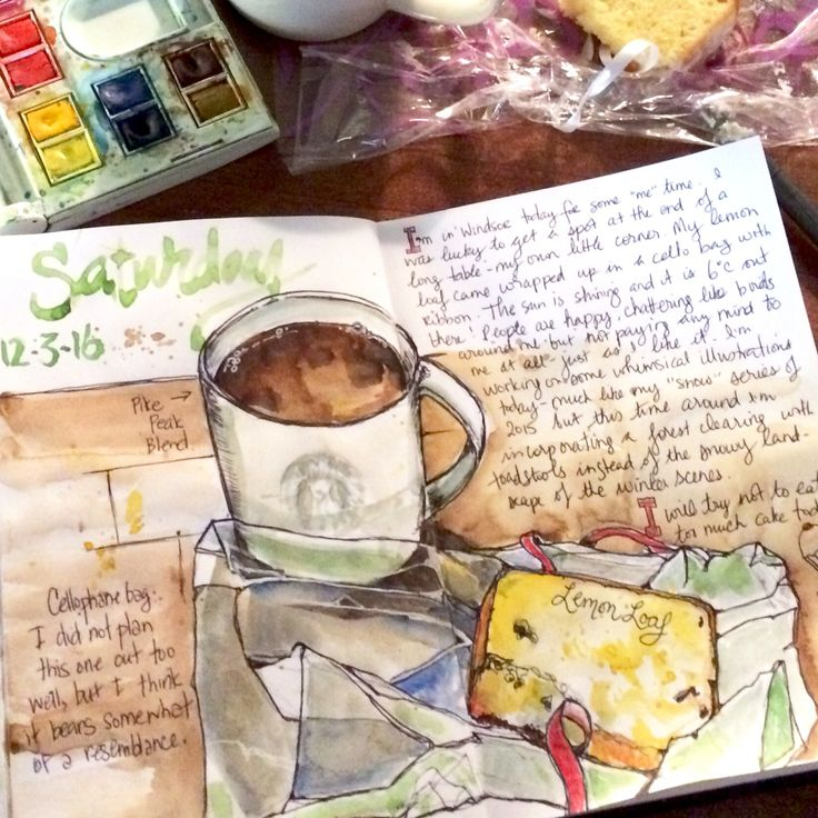 Watercolour and ink sketchbook illustration of cake and coffee at Starbucks.