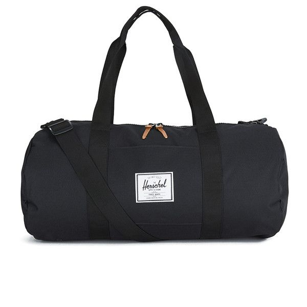 Herschel Black Everyday Gym / Travel Mid Sutton Duffle Bag: Perfectly sized for everyday use and light travel, the sized down Sutton Mid Volume Duffle features a removable shoulder strap, signature striped fabric liner, two-way 8pt plastic zipper with pebbled leather pulls, long nylon webbing carrying handles, and a removable shoulder strap.
