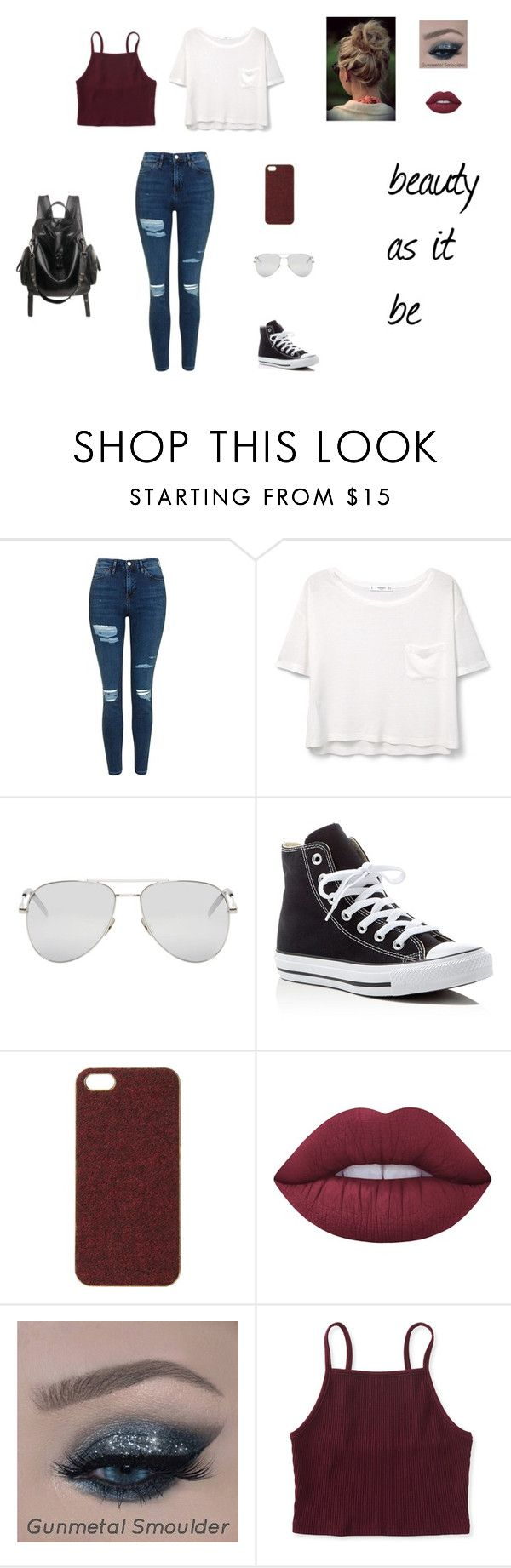 """""""beauty as it be"""" by claire-patterson-02 on Polyvore featuring Topshop, MANGO, Yves Saint Laurent, Converse, Scotch & Soda, Lime Crime, Aéropostale, casual, Original and bergundy"""
