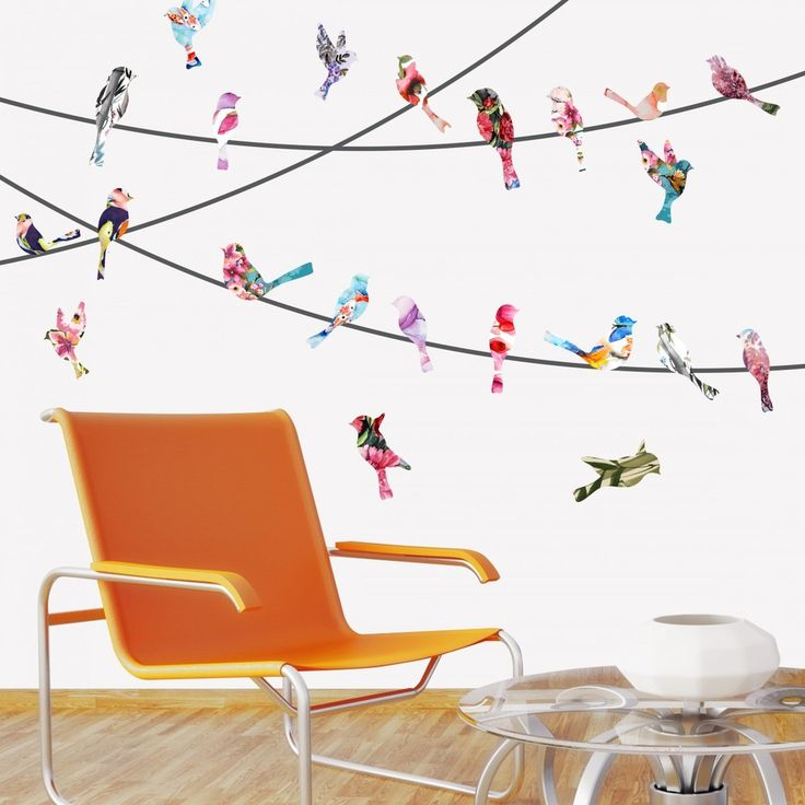 Watercolor Birds on a Wire Mount Wall Decals behind chair