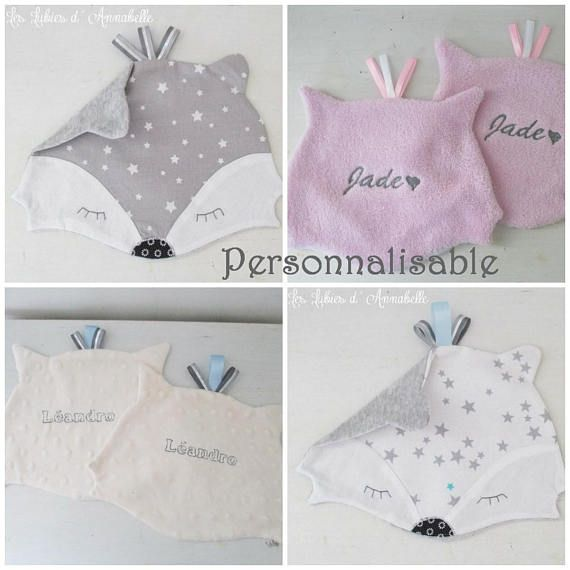 To order Unique 100% handmade creation! Your custom blanket. Tell me your colors and I choose your fabric in photos. Customizable with name embroidery machine embroidery on the back of the blanket. Back minky (minkee) fabric choices on photo presentation special baby (white, grey,