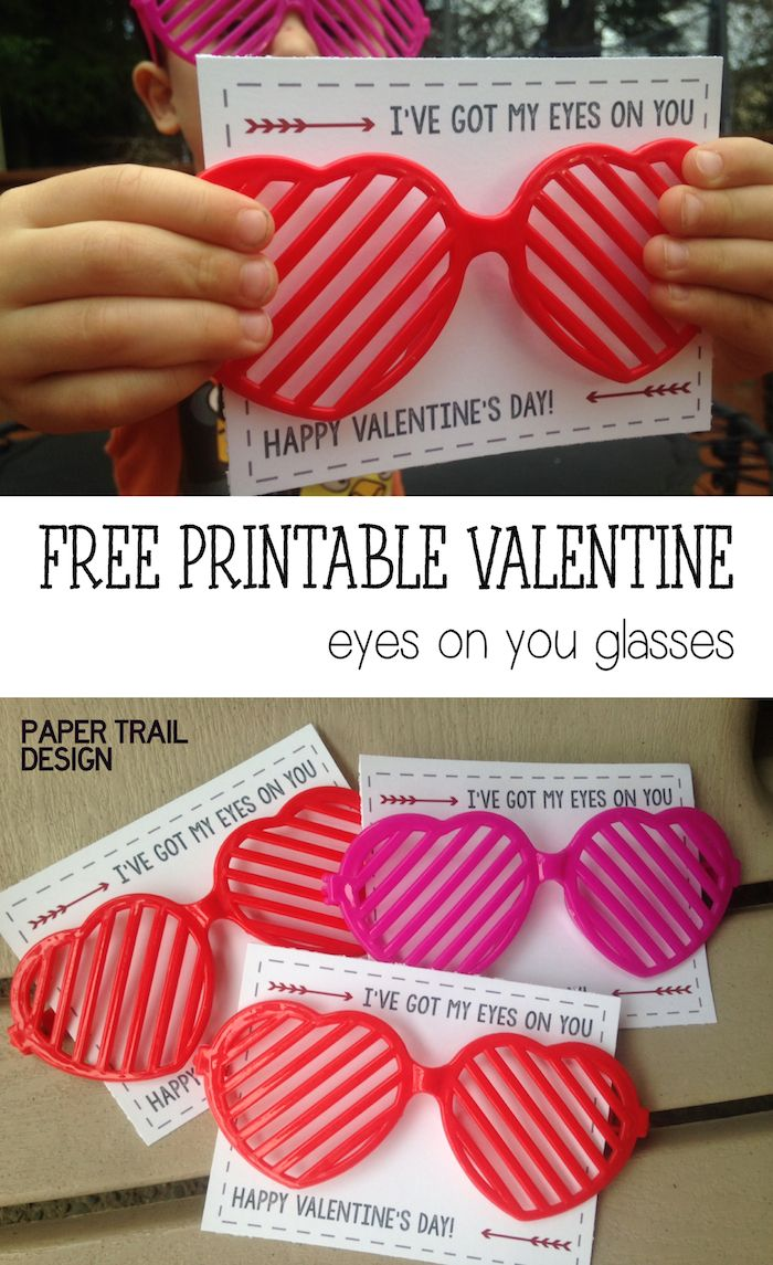 Free Printable DIY Glasses Valentine from PaperTrailDesign.com. Great idea for valentines to give out in your kids classroom valentine exchange. No Candy!
