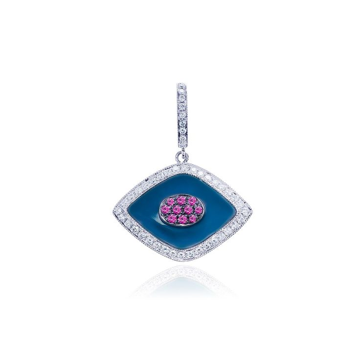 18kt white gold pendant with millenarian edges, inlayed with one diamond shaped natural light blue turquoise table gauging 16.50 x 11.60 mm, also pavè set.