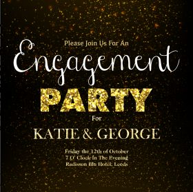 Template for the Engagement Party Invitations - Glitter design