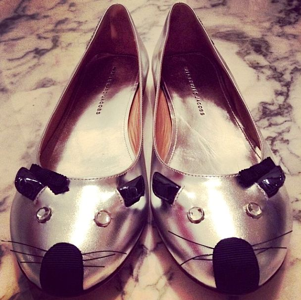 Marc by Marc Jacobs silver mouse flats