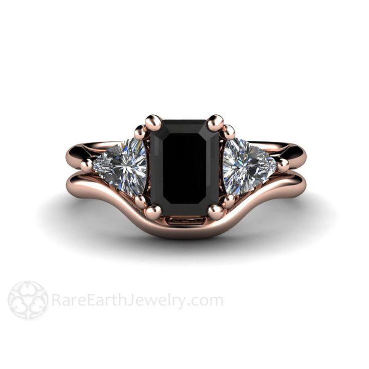 Black Diamond Wedding Set Engagement Ring 3 Stone Vintage Black Diamond Ring Unique Engagement 14K, 18K Gold Platinum or Palladium by RareEarth on Etsy https://www.etsy.com/listing/222860966/black-diamond-wedding-set-engagement