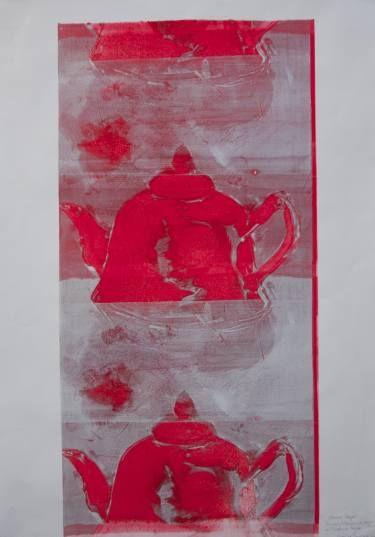 "Saatchi Art Artist Shauna Southam; Printmaking, ""Chinese Teapot, Ghost Print"" #art"