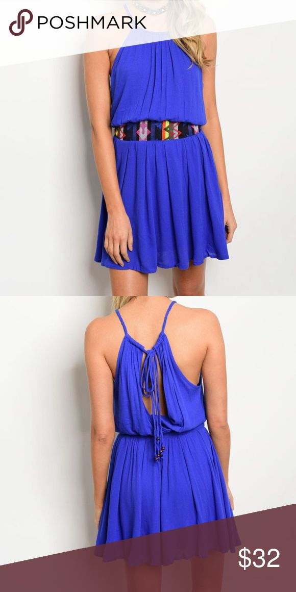 New royal blue dress This beautiful sleeveless woven dress features blouson bodice, with a wide multicolor waistband and relaxed fit.  A very versatile dress, perfect for day time or a night out on the town. Dresses Mini