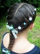 Low Combination.  My go-to hairstyle when I want my hair off of me quickly. (Without the flowers and ribbons, of course!)