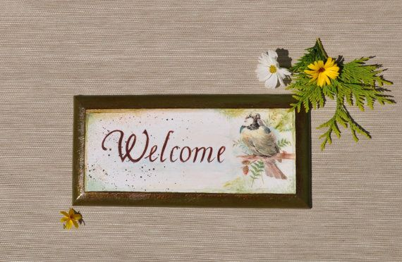 Welcome panneau de porte signe chic de bienvenue par AgaArtFactory