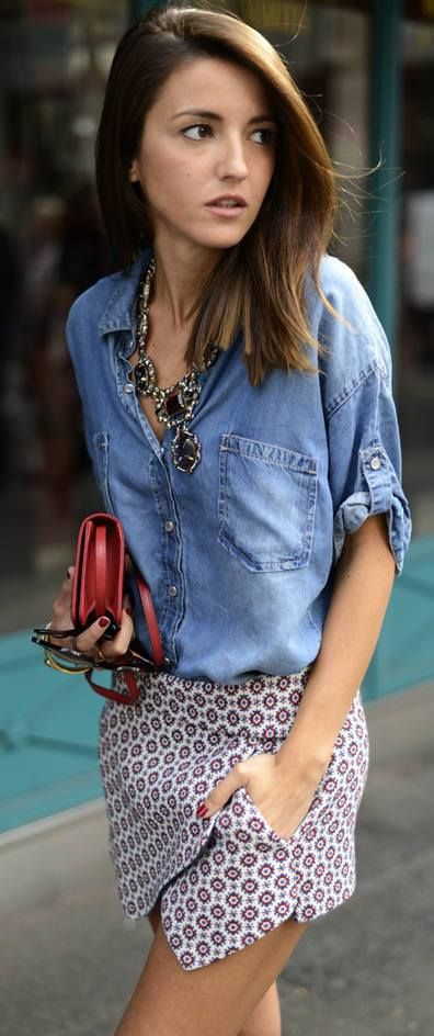Love the statement necklace with that denim shirt