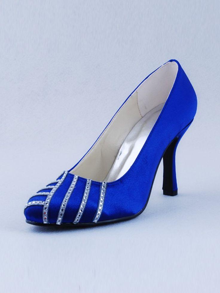 Royal+Blue+Wedding | ... Heel Closed Toes Rhinestone Elegant Royal Blue Dyeable Wedding Shoes