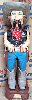 Gallagher 5' Cigar Store Indian OLD WEST COWBOY DUDE Hand Carved Sculpture GRAY