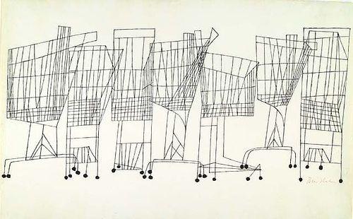 """Ben Shahn, """"Supermarket"""" pen & ink, 1957."""