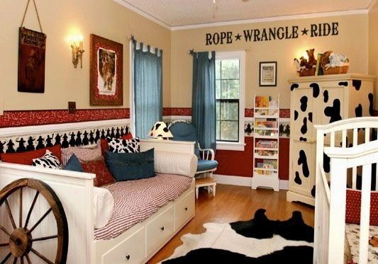 Rope wrangle ride vinyl lettering wall decal for cowboy for Cowboy bedroom ideas