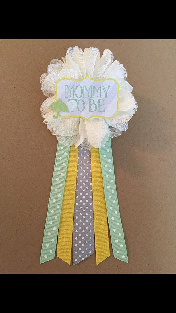 Baby Shower green yellow Mommy-to-be Flower Ribbon Pin by afalasca