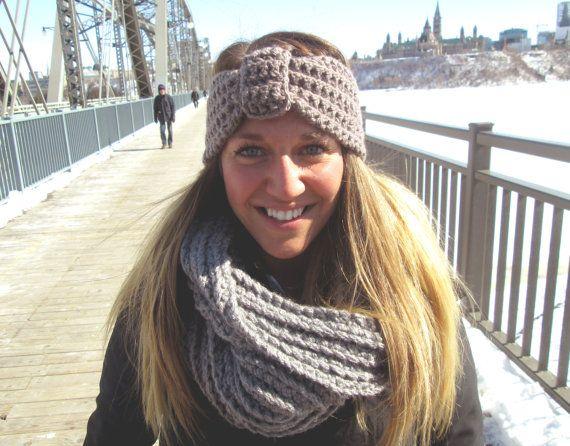 Bandeau Taupe  Taupe Headband par echarpesetbelles sur Etsy, $15.00