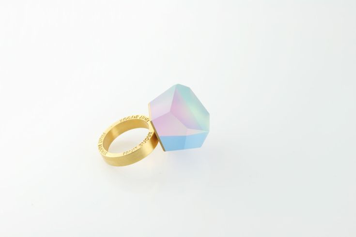 Fruit Bijoux, VU, gold ring, multicolor. To download high or low resolution product images view Mondrianista.com (editorial use only).