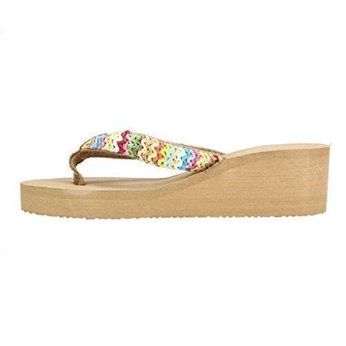 Oferta: 3.99€. Comprar Ofertas de Ularma 2016 Verano playa de sandalias de plataforma cuña plana parche Flip Flops zapatillas de Dama (37, caqui) barato. ¡Mira las ofertas!