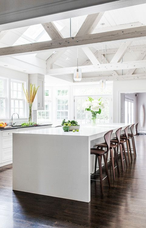 Kitchen. Center Island. Dining. Bar Stools. Clean. White. Modern. Exposed Beams. High Ceiling. Home. Decor. Design.
