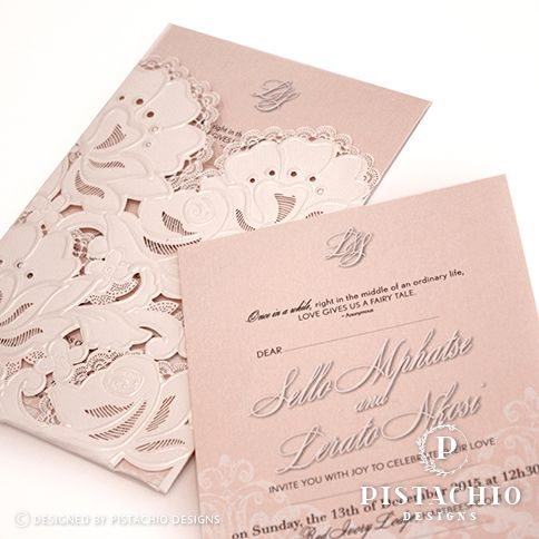 Detailed pocket with blush insert wedding invitations by www.pistachiodesigns.co.za