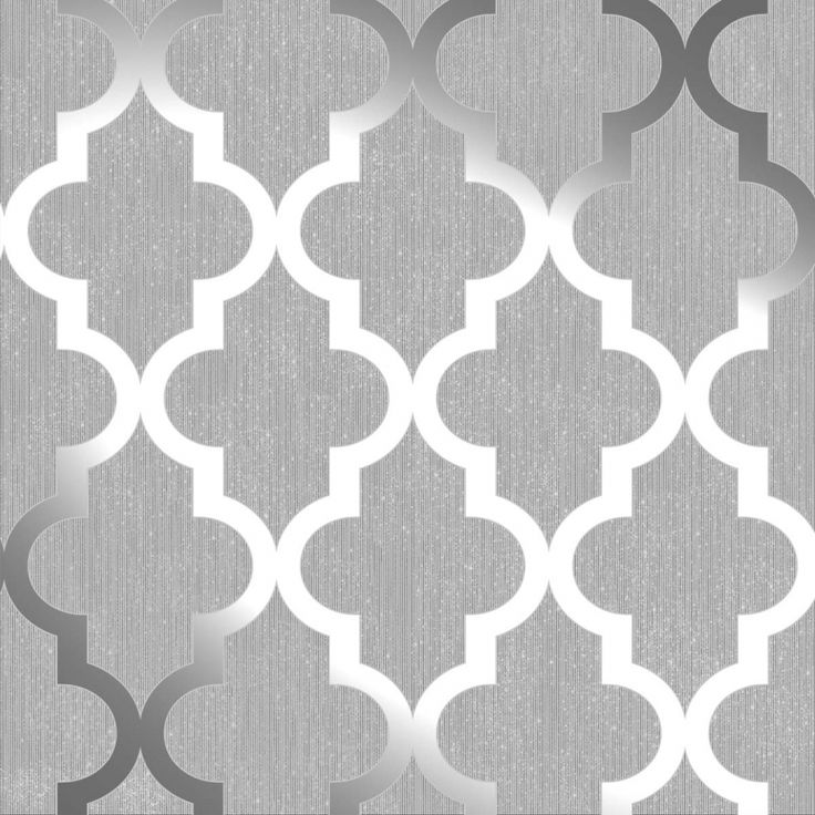 Henderson Interiors Camden Trellis Wallpaper Soft Grey, Silver (H980527)