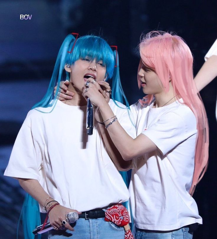 Vmin Fan Edit Long Hair Cotton Candy Blue And Pink Bts Jimi Vmin Girl Humor Long Hair Styles