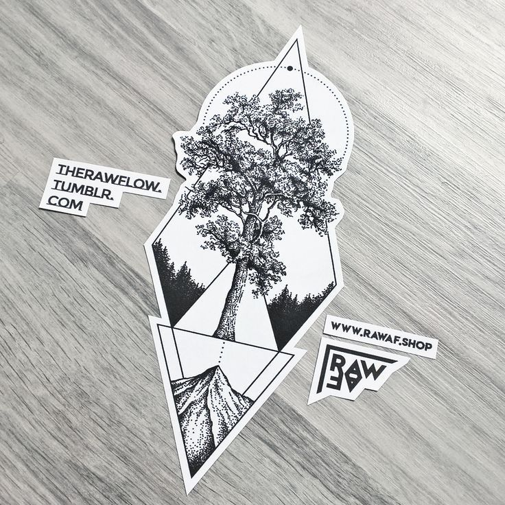 Dotwork geometric tree mountain tattoo design made for A. Parmelan – commissions…