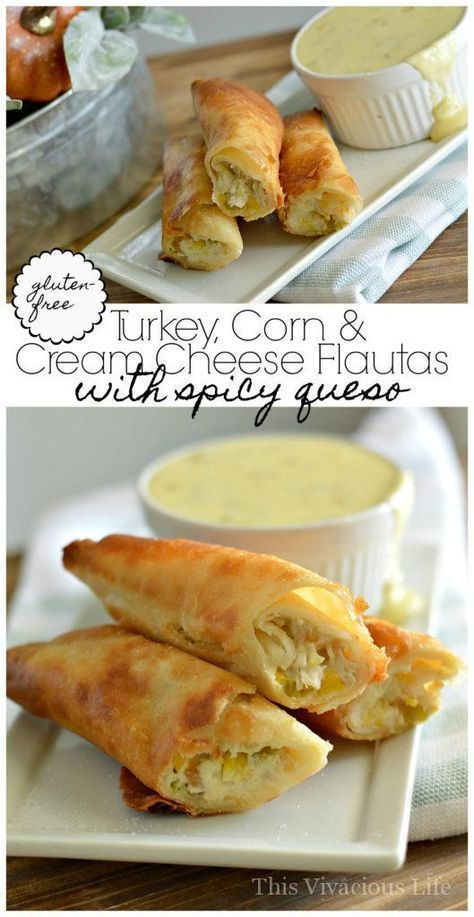 These gluten-free turkey, corn and cream cheese flautas with spicy white queso is the perfect Thanksgiving leftover meal. | thanksgiving recipe ideas | how to use thanksgiving leftovers | thanksgiving leftover recipes | Gluten-free thanksgiving recipes | Mexican flauta recipes  #Glutenfree #Thanksgivingleftovers