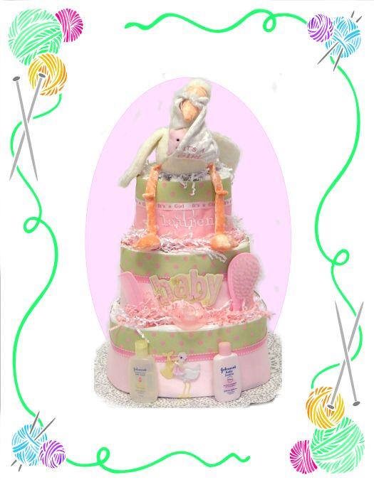 Baby Girl Stork Diaper Cake