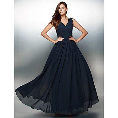 Vestido+-+Azul+Marinho+Escuro+Festa+Formal+Linha-A+Decote+em+V+Longo+Chiffon+–+BRL+R$+342,86