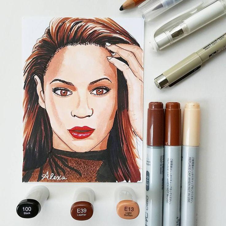 "Alexa's Illustrations  (@alexasillustrations) ""Happy birthday, Beyonce! 🐝 . . #queenb #beyonce #queenbey #copicciao #copicmarkers #copicart…"""